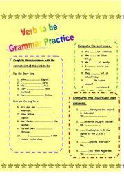 Verb to be - Grammar Practice