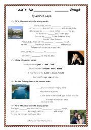 English Worksheet: Ain�t no Mountain High Enough