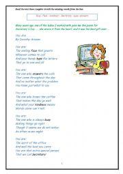 English Worksheet: POEM ABOUT SECRETARY