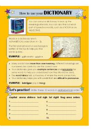 english worksheets how to use a dictionary. Black Bedroom Furniture Sets. Home Design Ideas