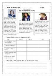 English Worksheet: you and your pocket money