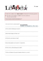 English Worksheet: London - questions to youtube clip