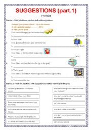 English Worksheet: Suggestions - part 1.