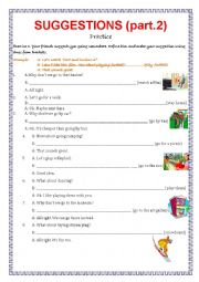 English Worksheet: Suggestions - practice part 2.