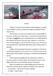 English Worksheet: Hunting Blue Whales (Full term 3 test 9th Forms Tunisia)