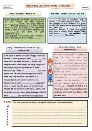 English Worksheet: KIDS TALKING ABOUT THEIR FAMILY RELATIONSHIPS