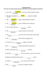 English Worksheet: POSSESSIVE NOUNS