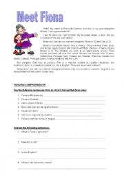 English Worksheet: Meet Fiona - For ADULT beginners