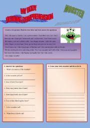 English Worksheet: Reading comprehension - My body