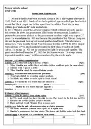 English Worksheet: second term exam about nelson mandela