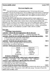 English Worksheet: reading text with questions about robots