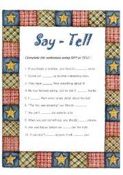 English Worksheet: say and tell