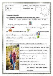 English Worksheet: mid-term test n1 7th formers nov15th