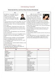 English Worksheet: Introducing yourself - Reading Speaking Practice