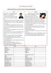 English Worksheet: Introducing yourself - Reading Speaking Practice