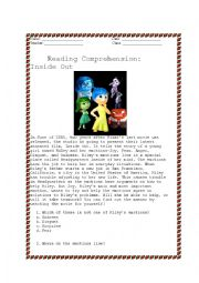 Reading Comprehension Inside Out With Answer Key Esl Worksheet