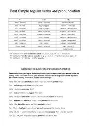English Worksheet: Regular verbs -ed pronunciation practice