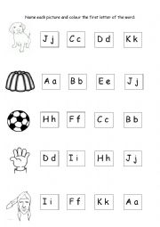 Picture-Word and First Letter Exercise
