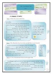 English Worksheet: Mid - Term  test n°1