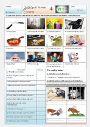 English Worksheet: Safety at home 9th form