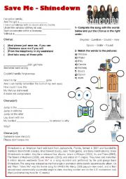 English Worksheet: Song: Save me - Shinedown - Simple Present (Drugs)