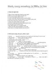 English Worksheet: Many/much, (a)few/(a) little