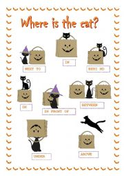 English Worksheet: Halloween prepositions ***Where is the cat?***