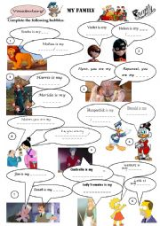 English Worksheet: My family! Vocabulary with cartoon characters