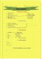 English worksheet: test paper
