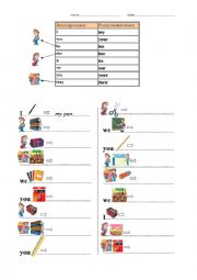 Classroom objects + Possessive determiners