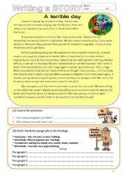 English Worksheet: Writing a story- PRE- Intermediate