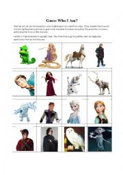 English Worksheet: Guess Who I Am? (Tangled, Frozen, Harry Potter) Activity