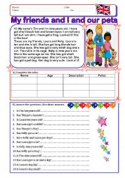 English Worksheet: My friends and I and our pets