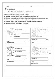 English Worksheet: Revision Seasons, Weather, Clothes