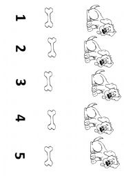 English Worksheet: Five dogs five bones - How many...?