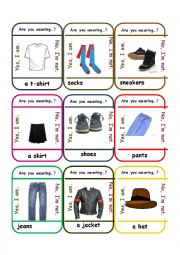 English Worksheet: Go Fish Game - Clothes