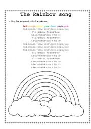 English Worksheet: The Rainbow song