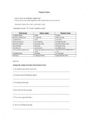 English Worksheet: Passive voice (chart with tenses and exercises)