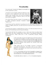 English Worksheet: Pocahontas - Comprehension