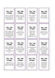 English Worksheet: ask and tell cards for ask and tell board game