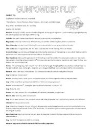 English Worksheet: gunpowder plot script