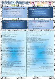 English Worksheet: Indefine Pronouns - Gotta Be Somebody - Nickelback