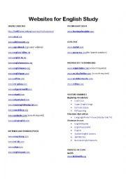 English Worksheet: Favorite ESL websites and youtube sites for learning English