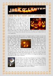 English Worksheet: Jack O� Lantern - Halloween
