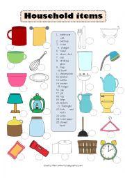 English Worksheet: Household items