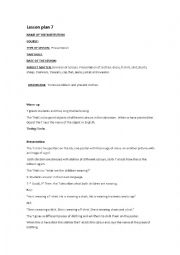 English Worksheet: lesson plan 7 kinder