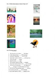 English Worksheet: Seasons, preposition of time, question words.