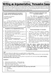 English Worksheet: Writing an Argumentative Essay