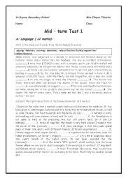 English Worksheet: mid term 1 test ( third form)