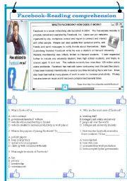 English Worksheet: Facebook-reading